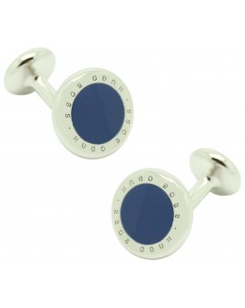 Cufflinks Hugo Boss roundel letters dot - blue