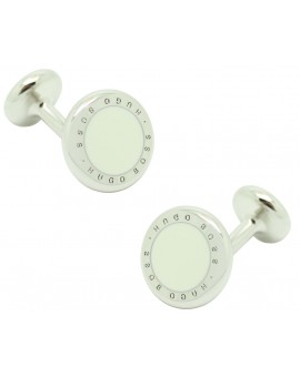 Cufflinks Hugo Boss roundel letters dot - white