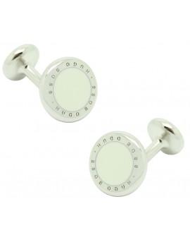 Cufflinks Hugo Boss roundel letters dot - white