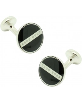Cufflinks Hugo Boss Roundel enamel Fix - black