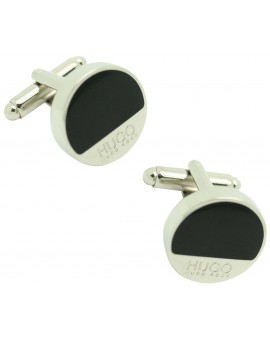 cufflinks Hugo Boss roundel middle black - plated