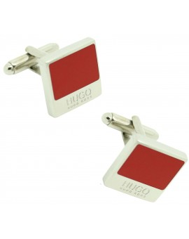 Gemelos Hugo Boss square RED elegant - plated