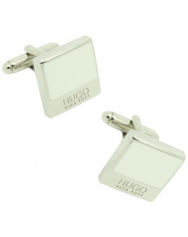 Gemelos Hugo Boss square WHITE elegant - plated