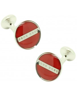 Cufflinks Hugo Boss Roundel enamel Fix - red