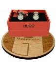 Gemelos para camisa redondos Hugo Boss con esmalte blanco