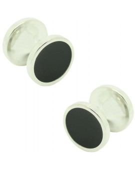 Cufflinks for round shirt Hugo Boss with black enamel