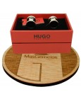 Gemelos para camisa redondos Hugo Boss con esmalte negro