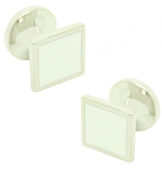 Cufflinks for square shirt Hugo Boss with white enamel
