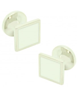 Cufflinks for square shirt Hugo Boss with white enamel