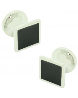 Cufflinks for square shirt Hugo Boss with black enamel