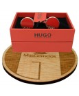 cufflinks Hugo Boss roundel RED elegant - plated