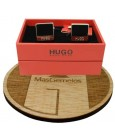 cufflinks Hugo Boss square BLACK elegant - plated