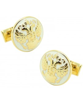 golden Double Eagle Skultuna Cufflinks - White