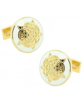 Tudor Rose Skultuna Cufflinks golden - white