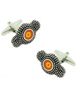 Cufflinks of helmet bullfighter of flag Spain
