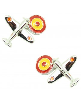 Cufflinks of airplane with roundel flag of spain