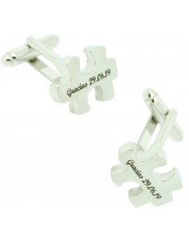 Custom cufflinks steel puzzle engraving
