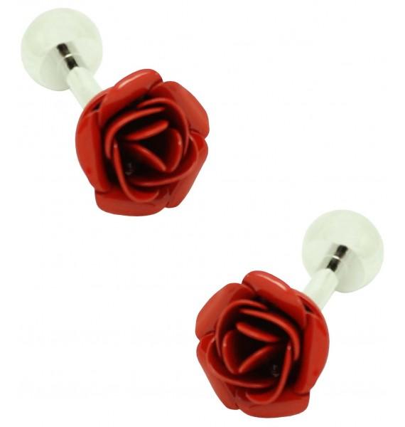 cufflinks of red rose