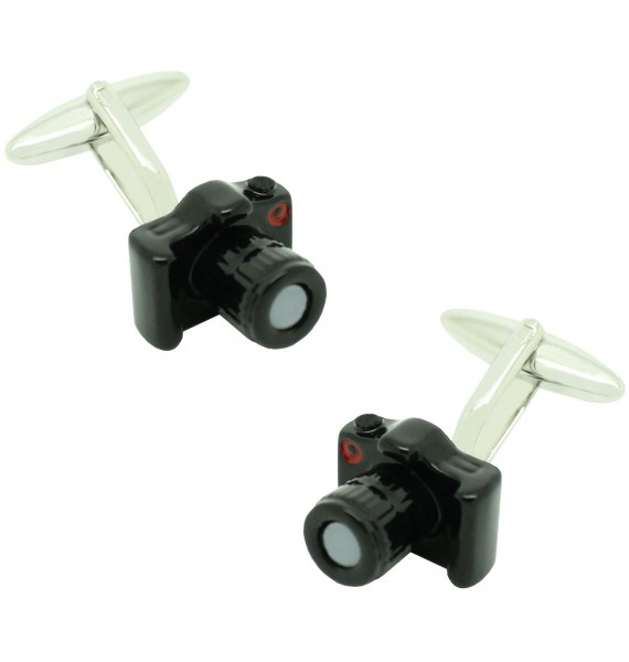 Cufflinks for shirt Reflex Photo Camera black