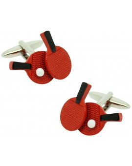 Red Ping Pong rackets shirt cufflinks