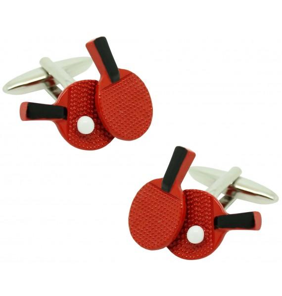 Gemelos para camisa raquetas de Ping Pong roja