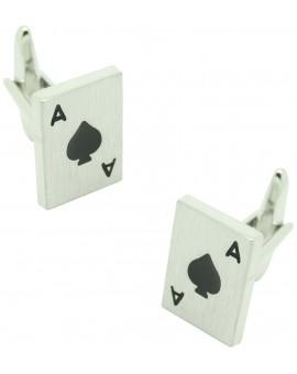 Ace of Spades Poker Card Cufflinks silver