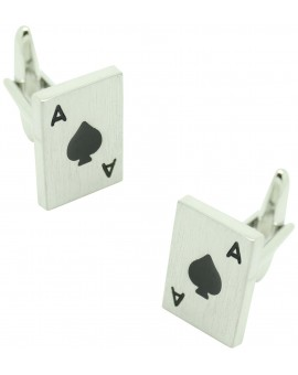 Ace of Spades Poker Card Cufflinks silver
