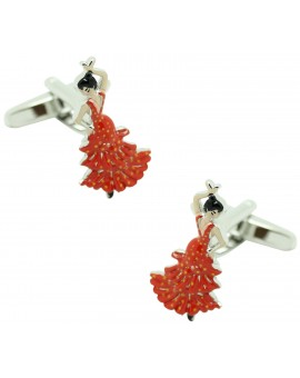 red flamenco shirt cufflinks