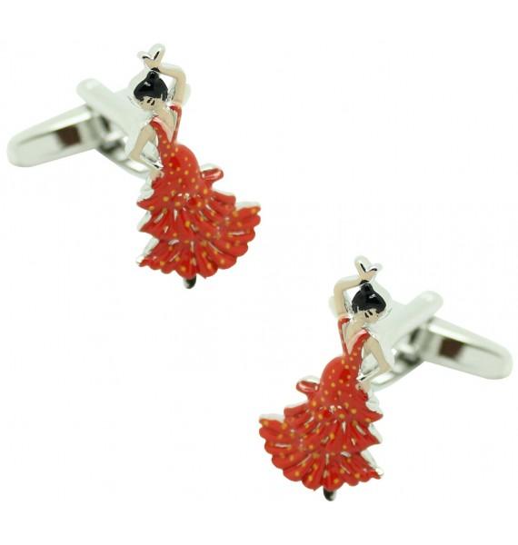red flamenco shirt cufflinks