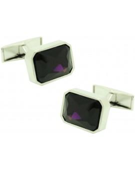 violet square Swarovski Cufflinks