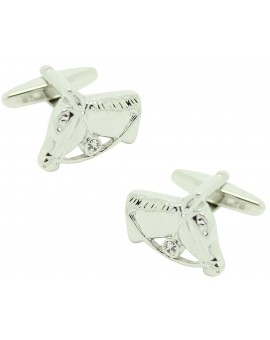 Silver horse head cufflinks with crystal