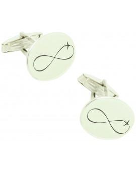 Custom Cufflinks Infinity Plane Oval Silver 925