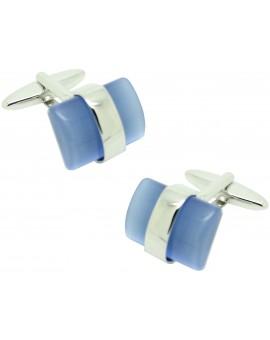 Gemelos para camisa ICON piedra azul line silver