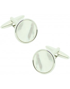 Gemelos para camisa ICON round pearl blanca