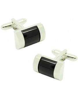 Cufflinks for shirt plated rectangular black stone