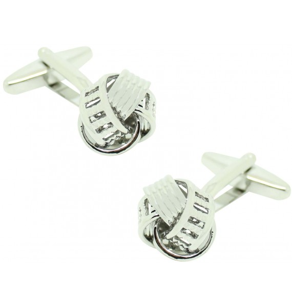 Silver Plated Ribbed Rail Knot Cufflinks