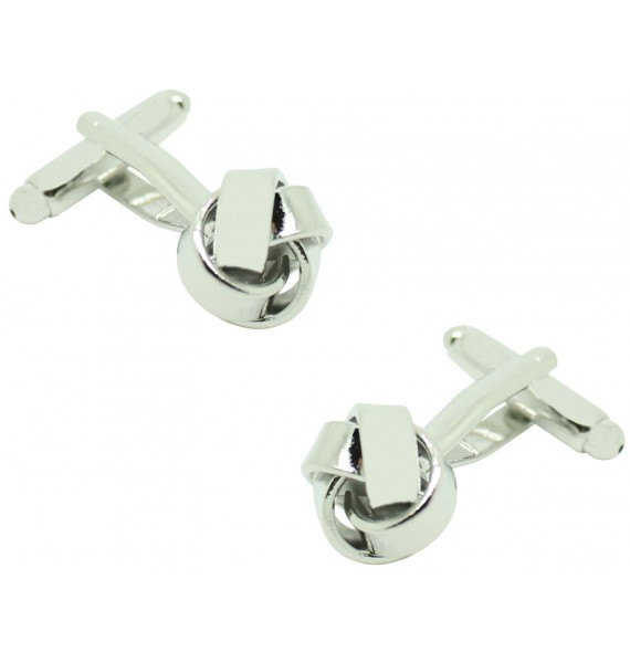 Silver Plated Smooth Knot Cufflinks