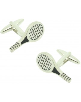 Cufflinks for silver tennis racket shirt