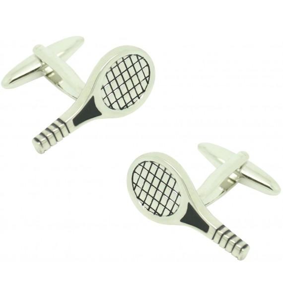 Gemelos para camisa raqueta de tenis plateada
