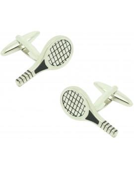 Cufflinks for silver tennis racket shirt