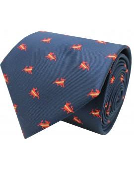 Corbata seda con Toro España azul marino
