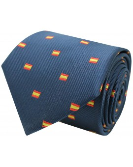 Navy blue Spain rectangular silk flag tie