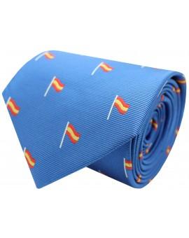 Corbata con bandera España mastil azul claro