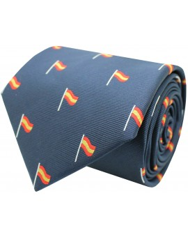 Silk tie with bull Spain navy blue