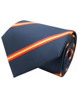 Navy blue diagonal Spain flag tie