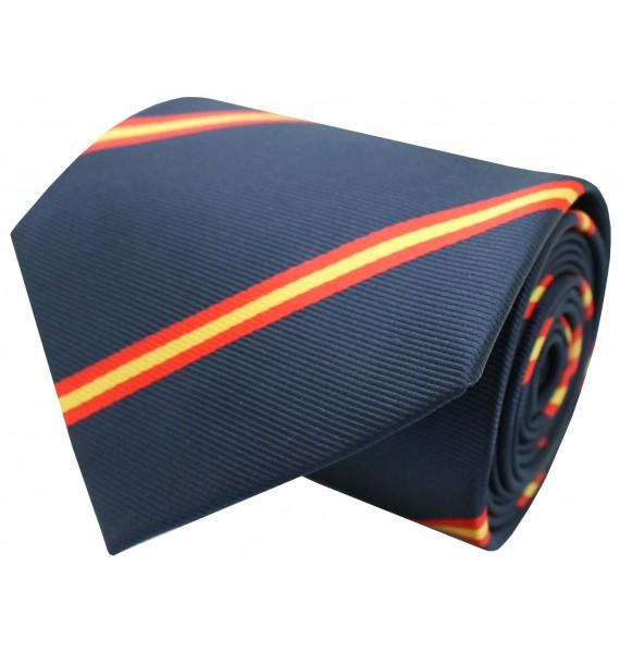 Navy blue diagonal Spain flag tie