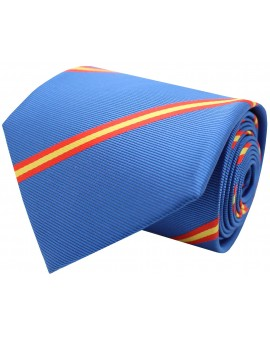 Corbata con bandera España diagonal azul claro