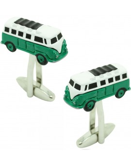 Cufflinks for shirt Hippie van green