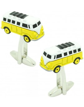 Cufflinks for shirt Hippie van yellow