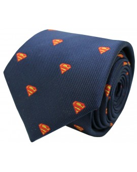 Necktie of superman in navy blue